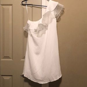 White Ruffle One Shouldered Dress